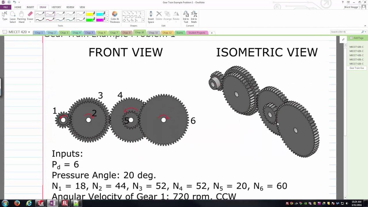Gear train ratio calculation example