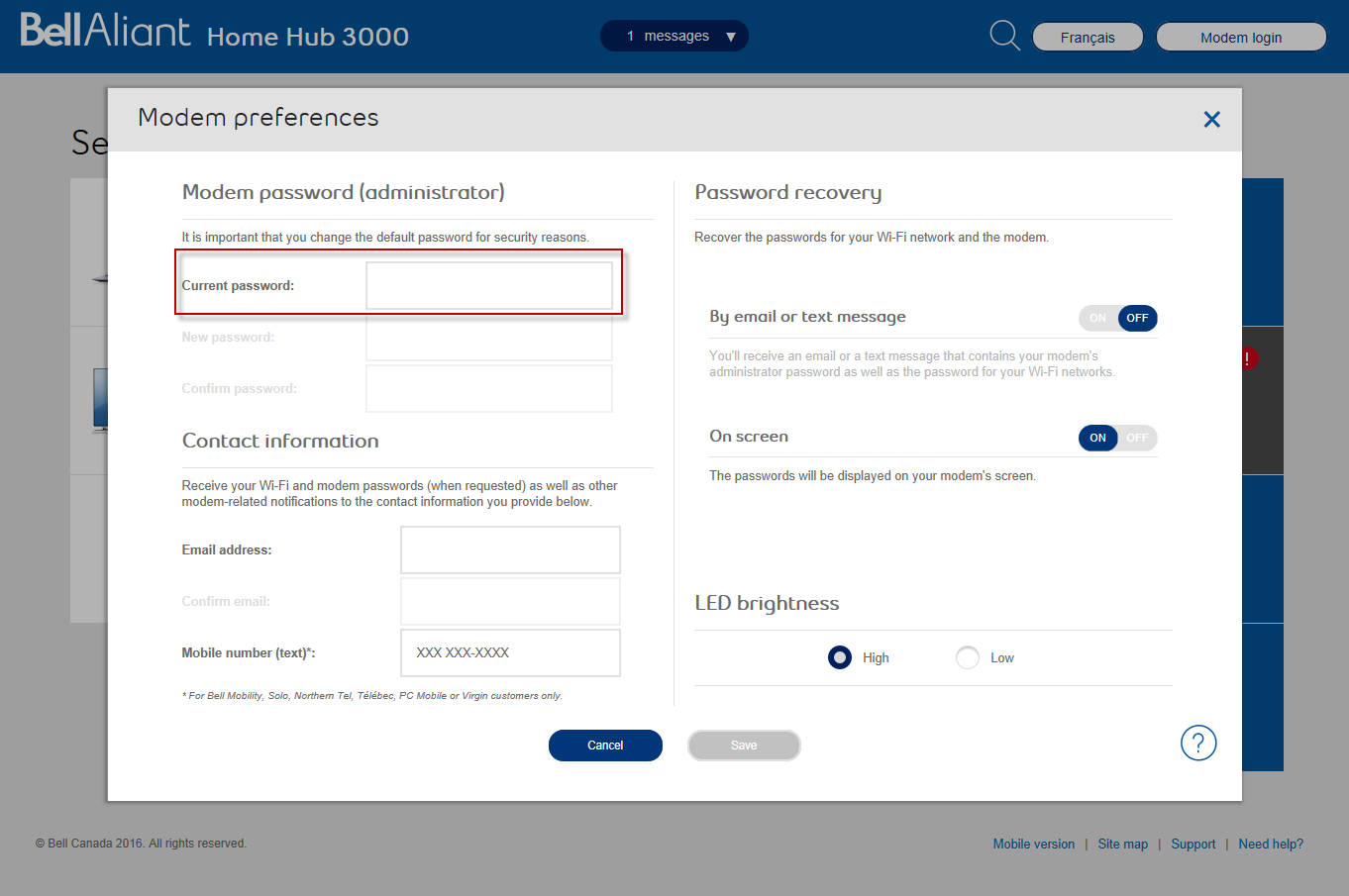 Bell aliant how to change router password