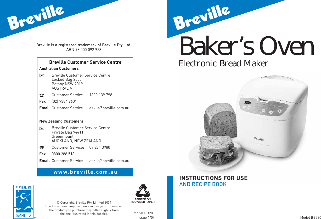 breville bakers oven instructions