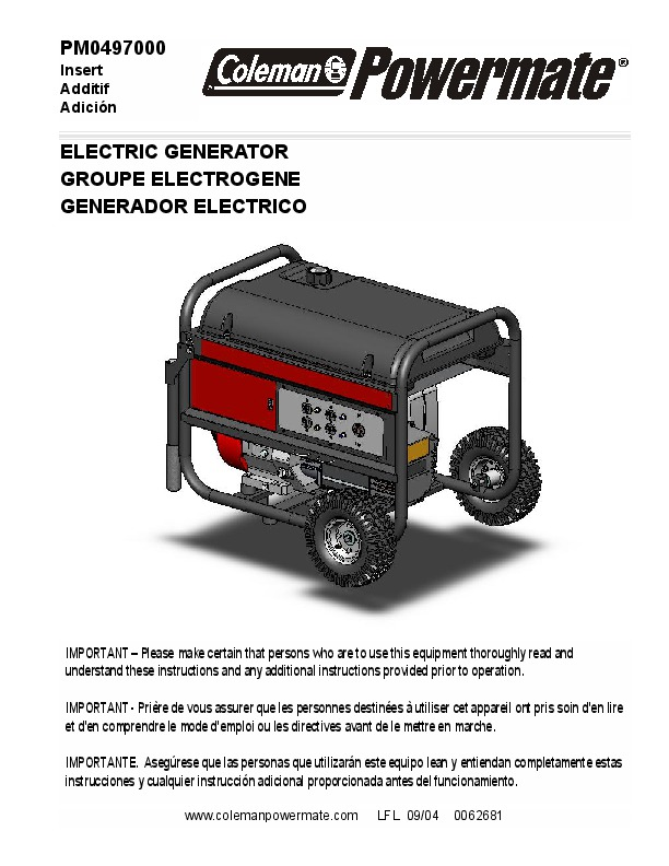 Coleman powermate 6560 generator manual