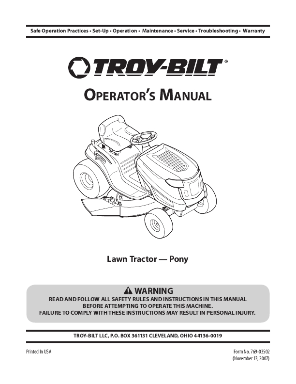Troy bilt pony mower manual