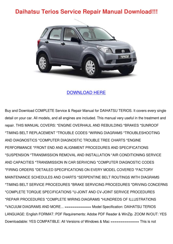 daihatsu terios service manual pdf