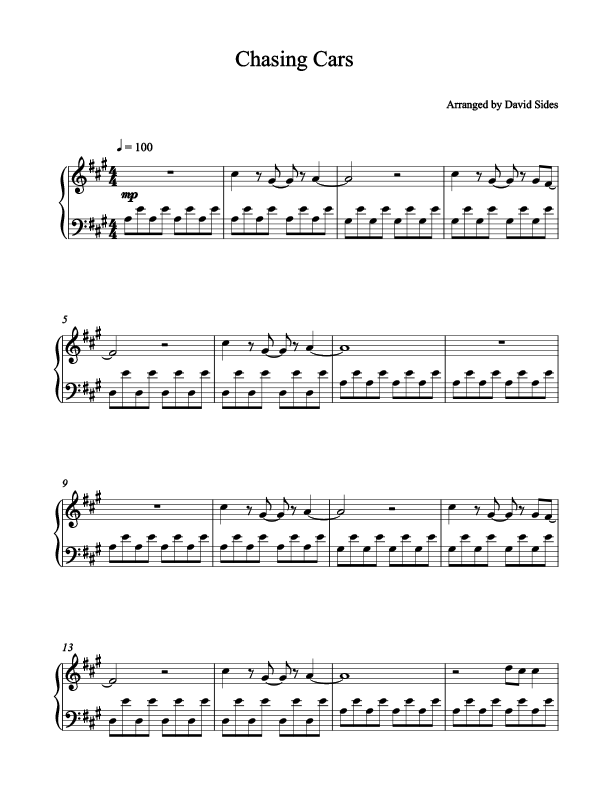 Chasing cars piano sheets pdf