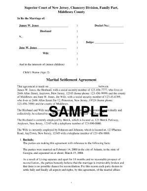 Divorce money settlement agreement pdf
