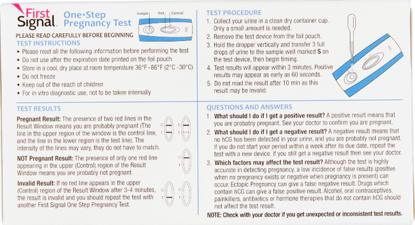 first signal pregnancy test instructions