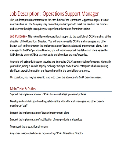 Operations manager duties and responsibilities pdf