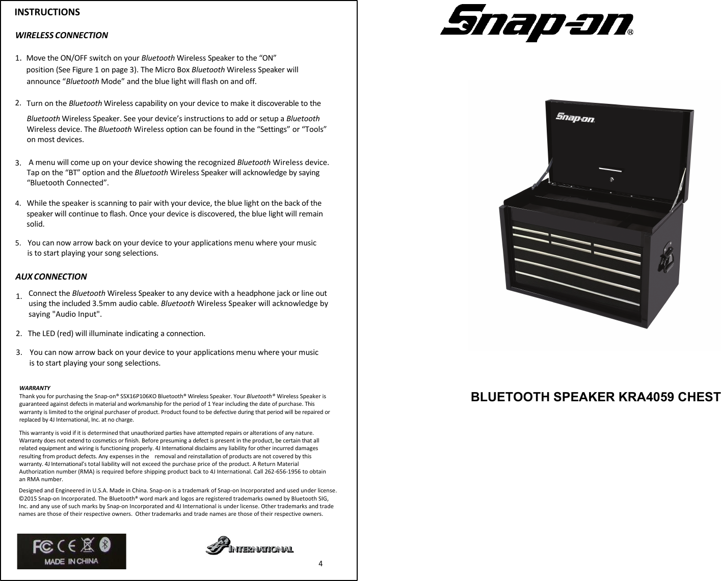 snap on bluetooth socket speaker manual