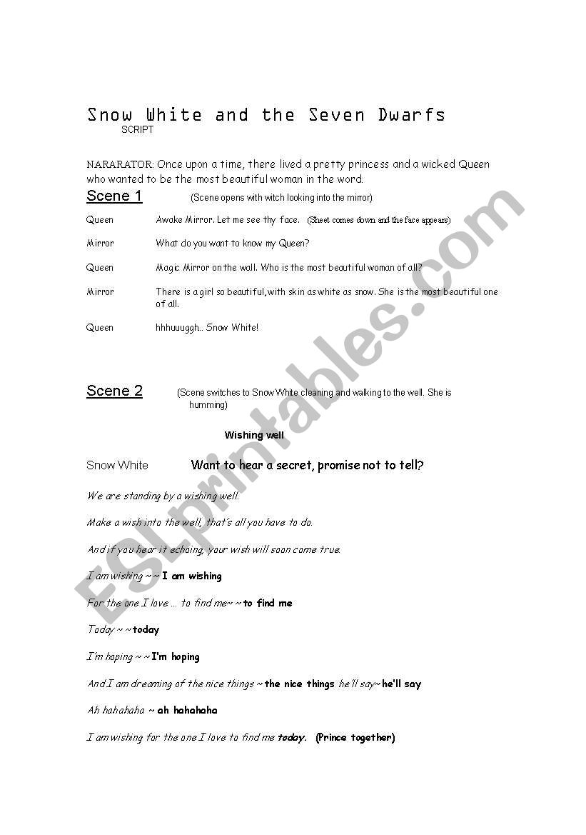 Snow white and the seven dwarfs script pdf